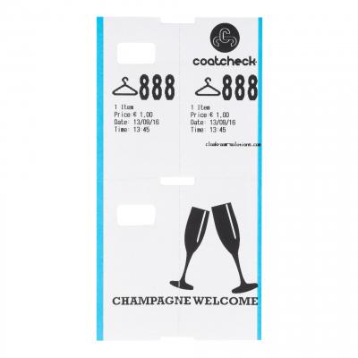 CoatCheck garderobetickets 14 rollen van 325 tickets wit/blauw met voucher