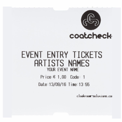 CoatCheck rol, Entreetickets economy zonder controlestrook, 14x600 tickets