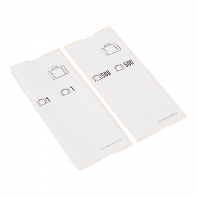 500 pre-printed self adhesive luggage tags