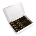 Box with 500 self-adhesive luggage tags, pre-printed, Black with gold print, series 501-1000