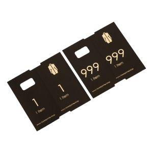 1000 pre-printed paper cloakroom tickets, black with gold print, numbers 1 - 1000